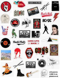 Rock music Stickers,rock stickers rock& roll stickers acdc bands punk hardcore nirvana thunder hardcore america mtv records album guitar drum kiss sun re. Band Stickers, Phone Stickers, Cool Stickers, Guitar Stickers, Snapchat Stickers, Vintage Sticker, Homemade Stickers, Retro Poster, Tumblr Stickers