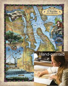 All of our maps are hand painted! Greatriverarts.com St Augustine Lighthouse, Pirate Treasure, Maritime Museum, Us Map, Distillery, Historical Sites, Maps, City Photo, Hand Painted