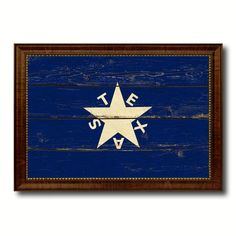 Texas History Lorenzo De Zavala Military Vintage Flag Brown Picture Frame Gifts Ideas Home Decor Wall Art