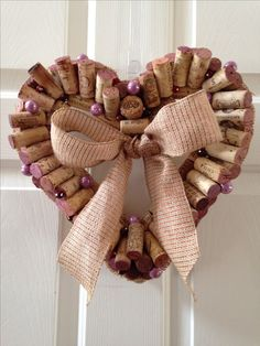 Cork Heart wreath with bead accents by LahPosh
