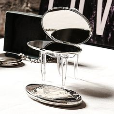 Silver Plated Oval Compact Mirror with Crystals   Starting at $12.89 CAD each   Buy it now on our online store www.montrealweddi... #mariagemontreal #montrealweddings #wedding #theme #chic #favors #bridesmaid #maidofhonor #gift