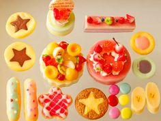 スイーツデコパーツ(H103) 20個入り フルーツケーキ、ケーキ、クッキー、水玉エクレア他