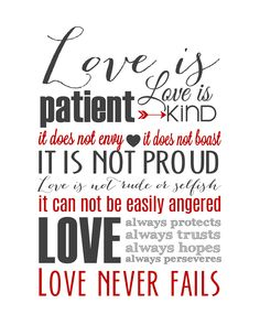 Love is Patient Subway Art Printable {1 Corinthians 13} - The Girl Creative