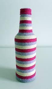 Resultado de imagem para garrafas com barbante colorido