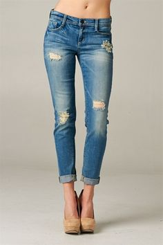 Medium Light Wash Destroyed Boyfriend Jeans – Texas Two Boutique
