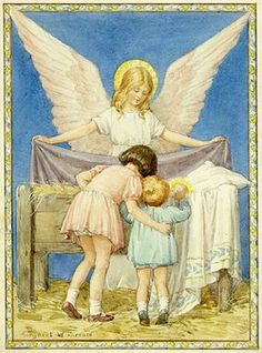 'Everybody's Brother' - Two children watch the baby Jesus in a manger whilst an angel looks over them. Christmas card.