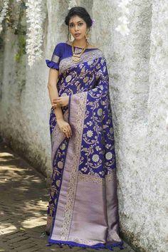Blue Silk Saree, Art Silk Sarees, Fancy Blouse Designs, Blouse Neck Designs, Blouse Patterns, Blouse Styles, Checks Saree, Indian Sarees, Blouses For Women