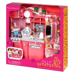 Our Generation Gourmet Kitchen Accessory Set - Pink American Girl Accessories, Barbie Accessories, Ag Dolls, Girl Dolls, Doll Toys, American Girl Doll Room, American Girl Kitchen, American Girl Furniture, American Girl House