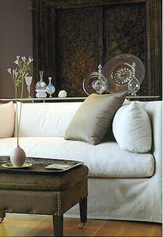 John Saladino...I love the display on the sofa table;)