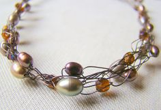 Peacock Gray and Dark Copper Freshwater Pearls by ElephantBeads