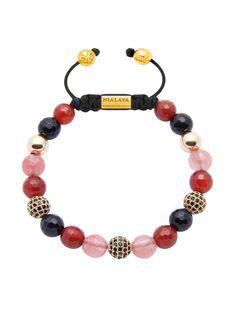 Carnelian, Cherry Quartz, Agate And Black CZ Diamond | Nialaya Jewelry