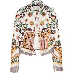 Mary Katrantzou Caramolengo printed silk-twill jacket ($869) ❤ liked on Polyvore