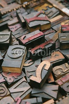Old wood letterpress letters background© Aurelio