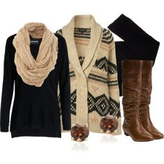 cozy sweater, black pants and brown boots