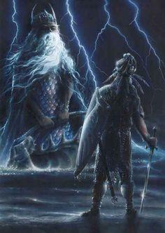 Tuor  (husband of Idril, father of Earindil) and Ulmo by Jacek Kopalski. The Silmarillion.