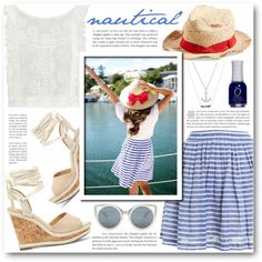 Nautical by katrinaalice on Polyvore featuring moda, MINKPINK, Hutch, Sole Society, Lucky Brand, Grace Hats and Erdem