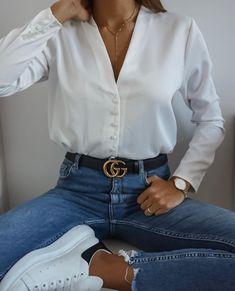 C l a s s y - L o v e l y - Casual Summer Outfits for Work Classy Outfits, Pretty Outfits, Casual Outfits, Mode Outfits, Fashion Outfits, Mode Adidas, White Shirt Outfits, White Blouse Outfit, White Silk Blouse