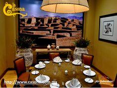 """En el RESTAURANTE LA CASONA tenemos salones para realizar eventos especiales tanto de negocios como familiares, uno de ellos es el salón """"Paquime"""" que está decorado con imágenes de este importante lugar en la zona de Casas Grandes, donde se encuentran construcciones de pequeñas casas de adobe semi-subterráneas. Le invitamos a conocernos en su próxima visita a Chihuahua. Reservaciones a los teléfonos: (614)4100063 y (614) 4100043  o en nuestro sitio http://www.casona.com.mx/  #chihuahua"""