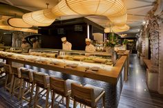 for NOBU's mexico city restaurant sordo madaleno arquitectos took inspiration from the elements to transform a colonial mansion into a contemporary setting Ibiza Restaurant, Restaurant Lighting, Restaurant Concept, Sushi Restaurants, Sushi Bar Design, Sushi Counter, Japanese Restaurant Design, My Coffee Shop, Design Blog