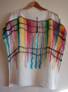 Blusa de seda pintada a mano  Pañuelo de seda-Top para boda