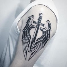 40 Simple Arm Tattoos For Guys – Cool Masculine Design Ideas Sword With Wings Simple Arm Tattoo Ideas For. Simple Tattoos For Guys, Simple Arm Tattoos, Cool Small Tattoos, Arm Tattoos For Guys, Trendy Tattoos, Awesome Tattoos, Cool Guy Tattoos, Hand Tattoos, Tattoos Arm Mann