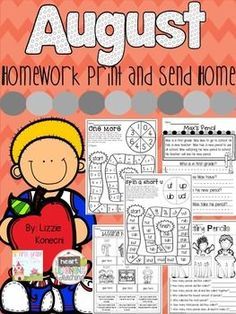 NO PREP Homework for August- First Grade (scheduled via http://www.tailwindapp.com?utm_source=pinterest&utm_medium=twpin&utm_content=post91744545&utm_campaign=scheduler_attribution)