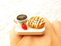 Coffee Ring Breakfast Strawberry Pastry Miniature Food Jewelry. Too adorable!!