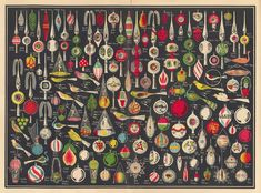 Holy cow I need this... illustrated chart of Christmas ornaments!!