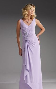 2015 V-neck Appliques Chiffon Sleeveless Floor Length Lilac Mother of the Bride Dresses Cameron Blake MBD110628