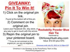 GIVEAWAY - Pin It To Win It: To Win This Item from OhHoneyHush.etsy.com - follow the instructions: Click on ORIGINAL pin, comment leaving a way to contact you, REPIN the ORIGINAL Pin! Contest ends 7/24/12 @ 11:59pm EST. Winner announced 7/25/12.