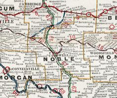 Noble County, Ohio, 1901, Map, Caldwell, Sarahsville, Belle Valley, Dexter City, Summerfield, Hiramsburg, Whigville, Harrietsville, Fulda, Hoskinville, OH