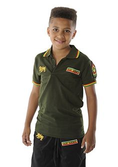 f72041d4 rasta4real CHILDRENS - LION OF JUDAH Jamaica Africa RASTA JAH ARMY POLO  SHIRT: Amazon.co.uk: Clothing