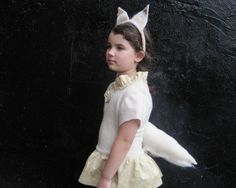 """Arctic Fox Costume """"Foxtume"""" - Eco Friendly Wool Kids Beige Dress Hat & Tail in SIZE 2T - Halloween Dress Up Play on Etsy, $78.00"""