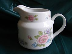 Cream Pitcher, Creamer, Transferware, Floral Pattern, Decorative, Milk, White, Serve Tea, Coffee, 1990 FTDA by BackStageVintageShop on Etsy