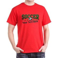 Cafepress Personalized Soccer Dark T-Shirt, Size: Large, Red