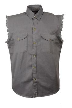 9a1716f165 Men s Motorcycle Grey Cotton Half Sleeve Cut off shirt with fryed sleeves