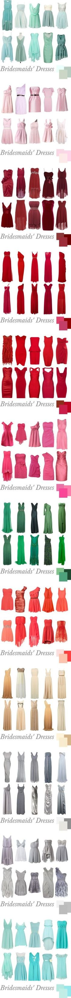 Color and Style Chart of Bridesmaids Dresses For more great tips, tools and Inspiration visit us at Bride's Book and become a VIB it's free and if your looking for a vendor visit our VIB Local Vendor Directory to find your perfect match.
