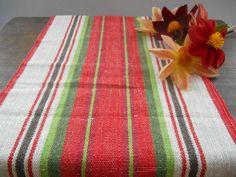 Vintage Swedish table runner Handwoven runner Striped linen table cloth Red White green runner