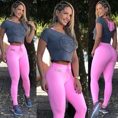 Legging Laço Rosa Chiclete Sporty Girls, Sporty Outfits, Cute Outfits, Workout Attire, Workout Wear, Look Legging, Fitness Wear Women, Gymnastics Outfits, Two Piece Dress