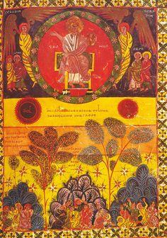 Folio 112, con la ilustración de La apertura del Sexto Sello (Apocalipsis, 6:12: Y cuando el Cordero abrió el sexto sello, vi que se produjo un violento terremoto. El sol se puso negro como ropa de luto y la luna quedó como ensangrentada).