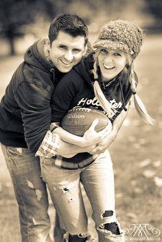 Cute engagement pic! Plus, I love football! :)