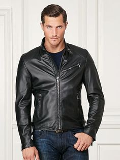 Randall Lambskin Biker Jacket - Purple Label Leather & Suede - RalphLauren.com