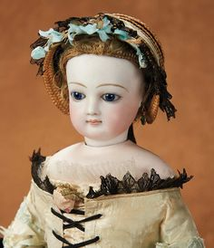 """Theriault's - 15"""" French Bisque Poupee by Jumeau with Beautiful Face, c 1870"""