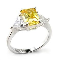 Sterling Silver Simulated Citrine Cocktail Ring Yellow Cubic Zirconia Size 10 #Unbranded #SolitairewithAccents