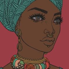Pinterest: @ndeyepins | Art: femme africaine avec foulard très belle et bien dessinée