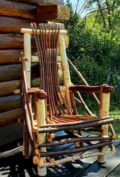 Twig Furniture, Outdoor Furniture, Bent Wood, Outdoor Chairs, Outdoor Decor, Shelters, Bushcraft, Rocking Chair, Rustic Style