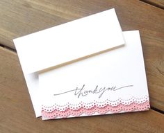 Pink Blossom Wedding Card-Lace Wedding Card-Pink Lace Thank You Card- White Lace Card-Hand Stamped Card-Bridal Shower Thank You Card-by Lemon Drops & Lilacs on etsy.com