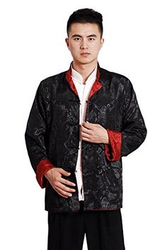d20a917f3382f AvaCostume Mens Chinese Tang Suit Reversible Kung Fu Blouse Coat Medium  Black Red     Amazon most trusted e-retailer  ExoticsforMen