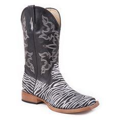 Roper Faux Leather Glitter Zebra Print Cowgirl Boots Square Toe - Polyvore