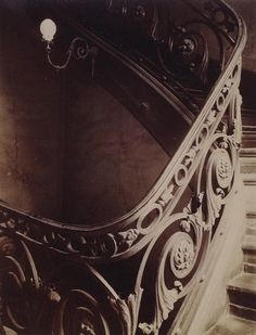 Chronicling the inventory of everyday Paris architecture, culture & life; Eugene Atget, staircase at 11 rue du Cherche-Midi, Architectural Photographers, French Photographers, Street Photography, Fine Art Photography, Eugene Atget, Berenice Abbott, Alfred Stieglitz, Old Paris, Louvre